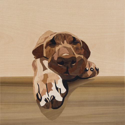 Hund Intarsie