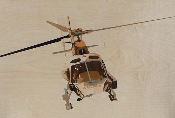 Intarsie Hubschrauber